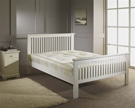 white wooden bed frame double bed wood frame 4ft6 white shaker wooden bed