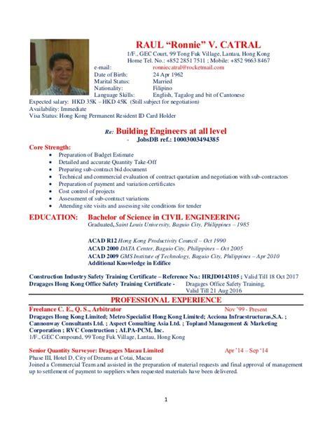 Curriculum Vitae Sle Hk Ronnie Cv 2015