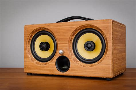 Music System Cabinet Designs Ibox Xc Pressed Caramel Bamboo Wireless Bluetooth Speaker