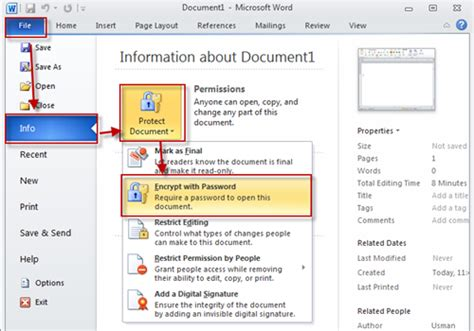 Save Word Document Password Protected