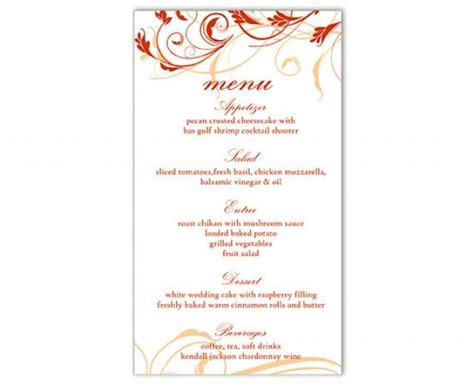 Menu Card Template by Wedding Menu Template Diy Menu Card Template Editable Text