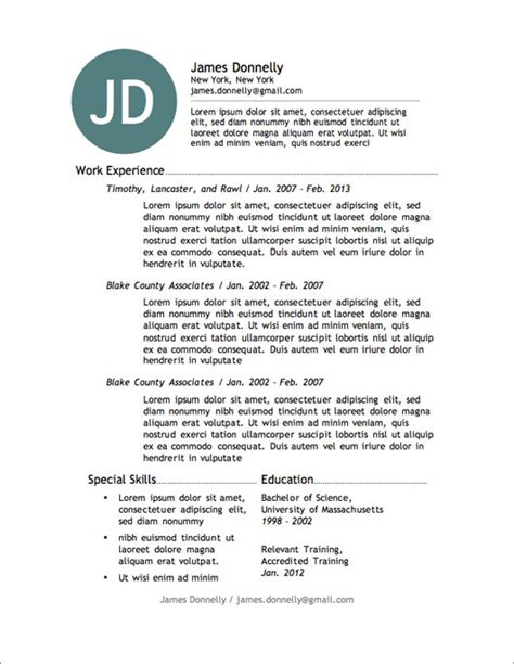 Free Work Resume Template by 12 Resume Templates For Microsoft Word Free Primer