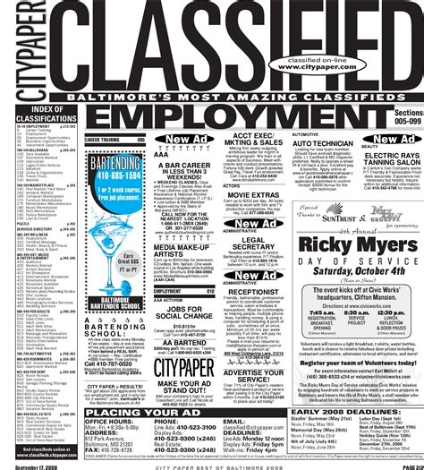 classified section newspaper baltimore city paper vol 32 no 38 best of baltimore