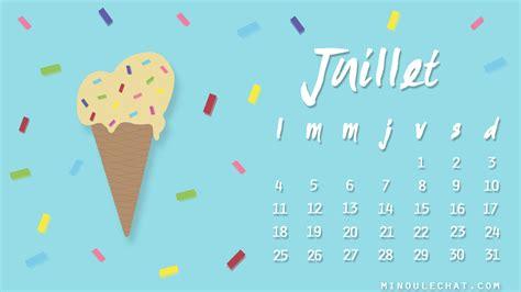Calendrier 9 Juillet Calendrier Et Fond D 233 Cran Juillet 2016 Minou Le Chat