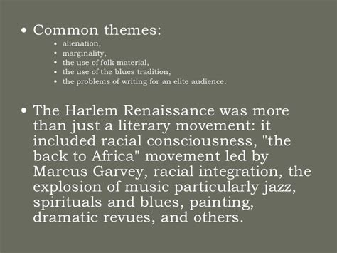themes of literature during the harlem renaissance the harlem renaissance 97 03