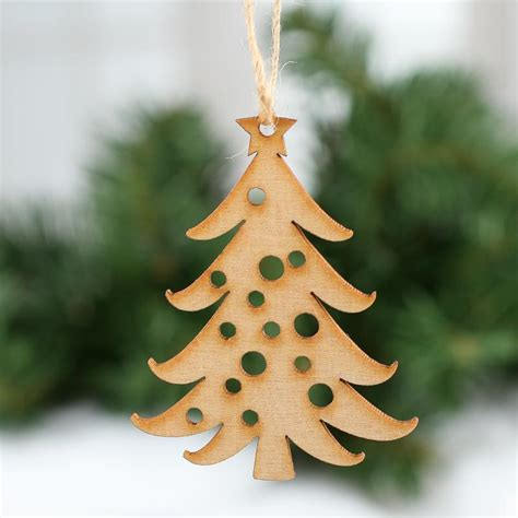 unfinished wood laser cut christmas tree ornaments what