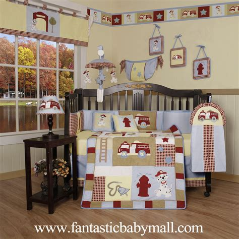 Hot Sale Baby Bedding Boutique Baby Boy Firetruck 13pcs Crib Bedding Set 100 Coton