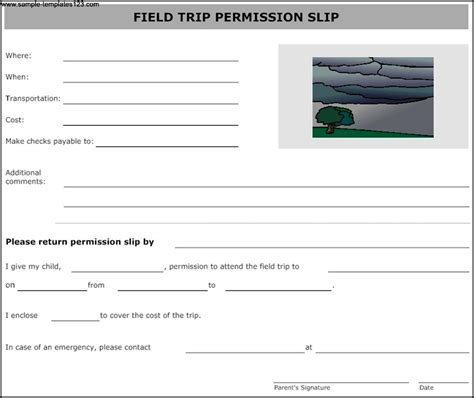 field trip form template field trip permission form template sle templates