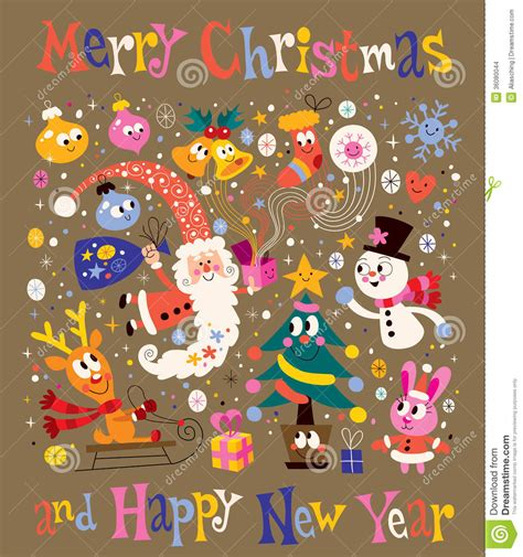 merry christmas  happy  year greeting card stock vector illustration  retro cartoon