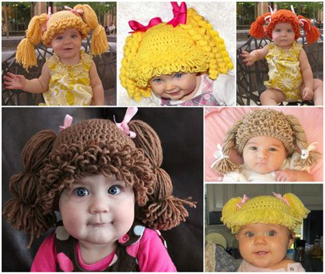 free crochet cabbage patch hair baby hat how to diy cute crochet cabbage patch hats www fabartdiy com
