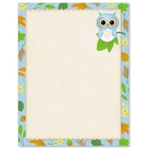 printable owl border paper owl border writing paper b 250 hos con motivo escolar