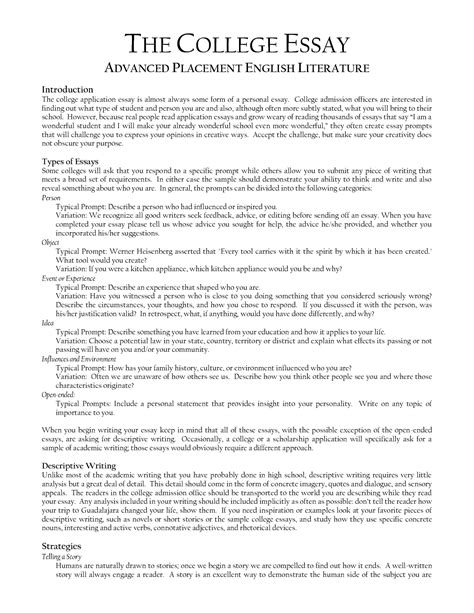 Collage Essay Exles by The College Essay 187 Crafting An Unforgettable College Essay Apply The Princeton Review