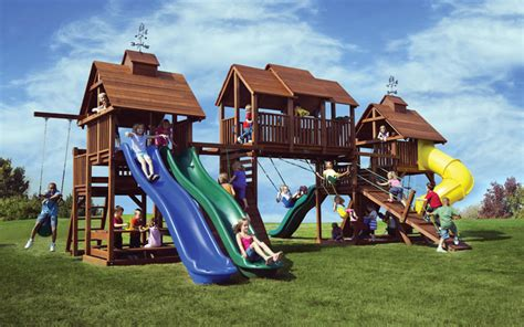 big kid swing set a big backyard play set for kids adventure mountain