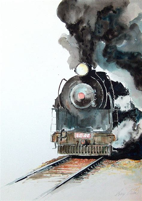 painting trains smokin painting by greg clibon
