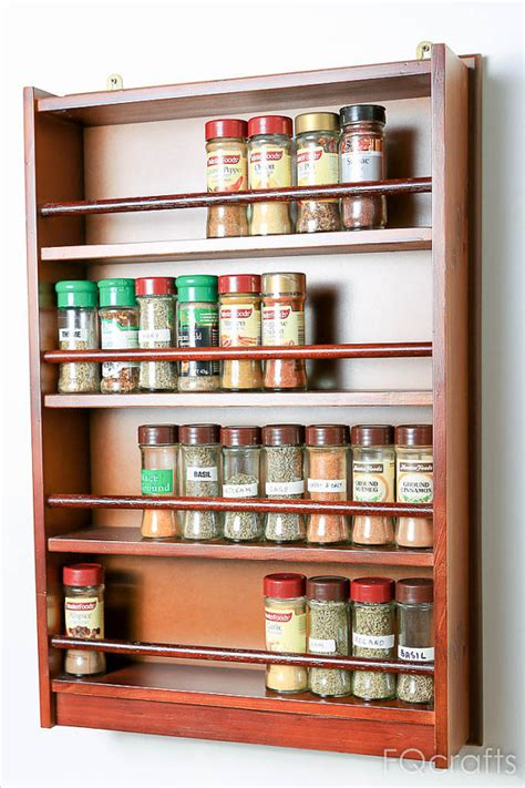wooden spice rack four shelves fits 72 regular herb by