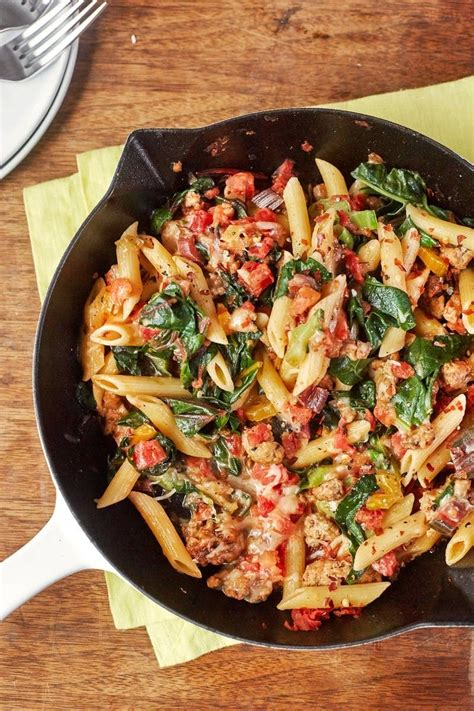 turkey  greens skillet pasta recipe weeknight meals