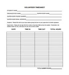 Volunteer Time Sheet Template by Sle Time Sheet 10 Exle Format