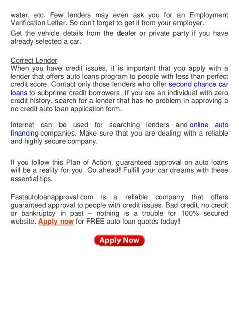 Auto Loan Approval Letter Sle How To Ensure Guaranteed Auto Loan Approval With Credit Issues