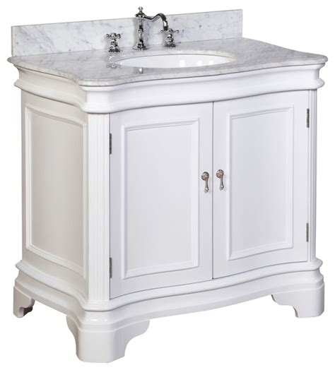 36 White Bathroom Vanity Katherine 36 In Bath Vanity Carrara White Traditional Bathroom Vanities And Sink Consoles