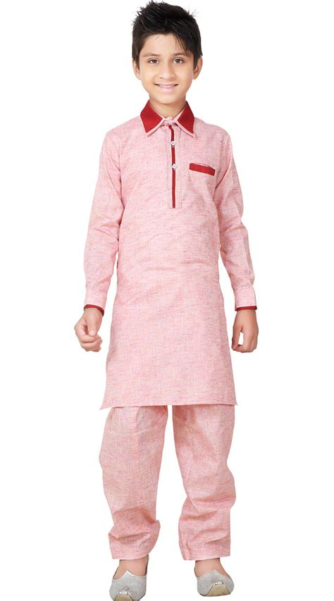 peach color cotton kurta pajama set 5078 kid wear linen cotton pathani kurta pajama gr26120