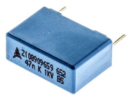epcos polypropylene capacitors b32652 a473 k epcos 47nf polypropylene capacitor pp 1 kv dc 250 v ac 177 10 tolerance through