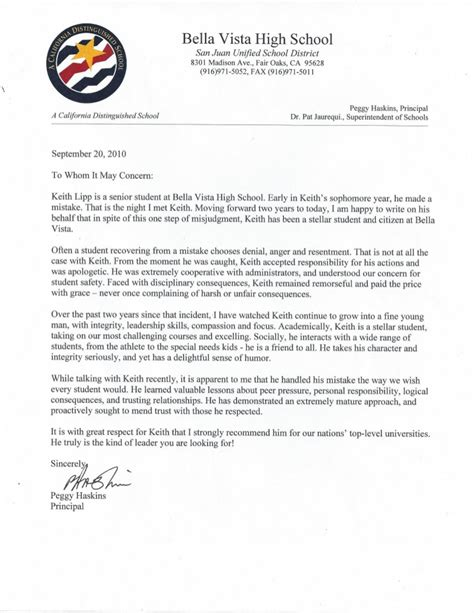 High School Principal Letter Of Recommendation