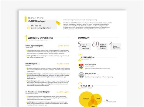 Resume Template Ux by Free Ui Ux Resume Template In Sketch File Format