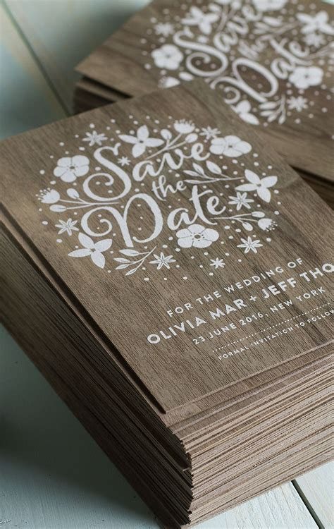 wood wedding invitations stunning wedding invites produced on real wood with white