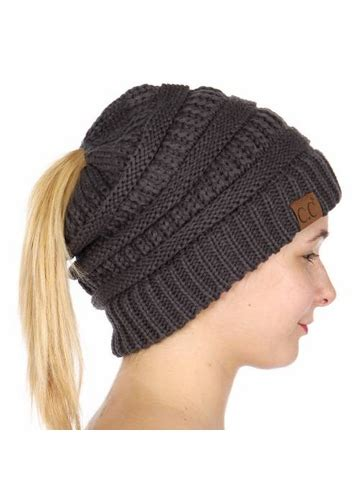 Melange Beanie Hat melange grey cc beanie hat with open ponytail