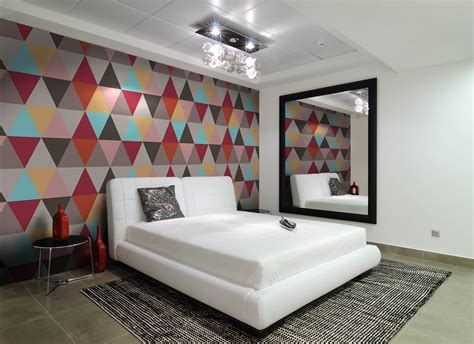 wallpaper bedroom pinterest contemporary bedroom with geometric wallpaper modern