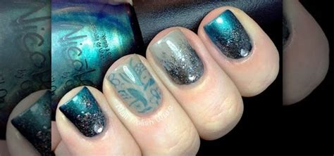 how to do gradient glitter nails with konad stamping