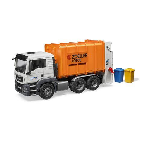 bruder toys bruder tgs rear loading garbage truck orange jadrem toys
