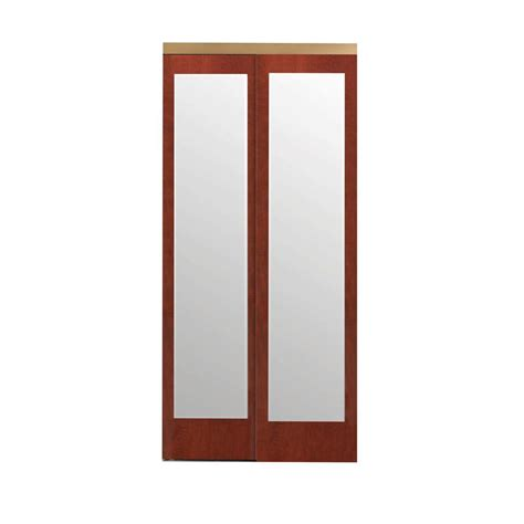 Beveled Mirror Sliding Closet Door Impact Plus 72 In X 80 In Beveled Edge Backed Mirror Aluminum Frame Interior Closet Sliding