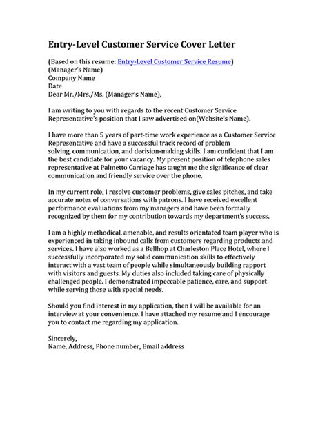 Customer Service Cover Letter Resume Exle Customer Service Cover Letter Sles Resume Genius