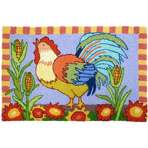 Jellybean Rooster And Corn Colorful Indoor Outdoor Area Colorful Outdoor Rug