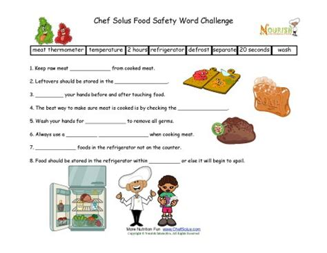 Food Safety Worksheets by Food Safety Worksheets Free Worksheets Library