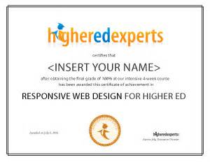web design development certificate online responsive web design for higher ed online course
