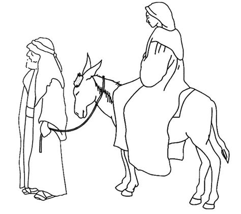 free coloring pages of mary and joseph on a donkey