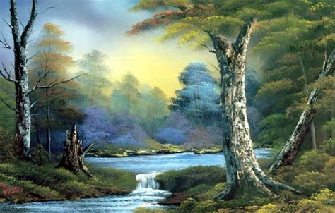 bob ross painting rivers wallpaper picture landscape stump trees the bushes