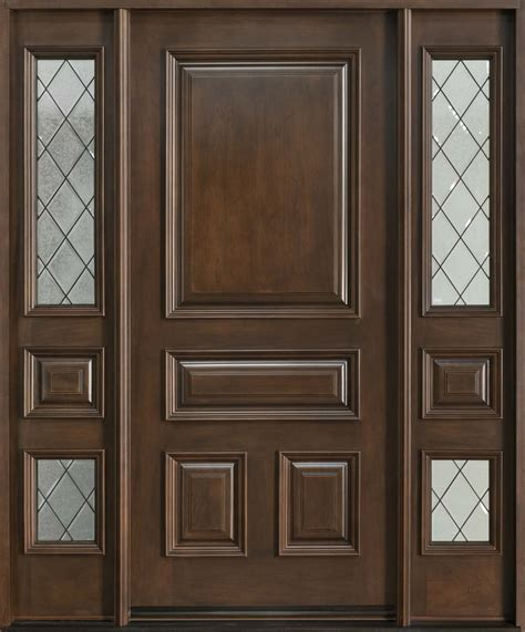 Single Front Doors Front Door Custom Single With 2 Sidelites Solid Wood With Walnut Finish Model Db