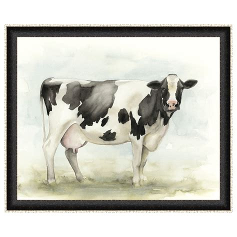 Rustic Decor Curtains Watercolor Cow I Framed Print