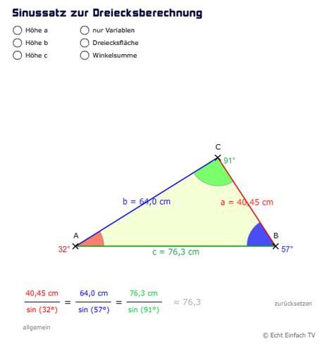 wann benutze ich sinus cosinus und tangens sinus kosinus oder tangens dreieck gegeben alpha gamma