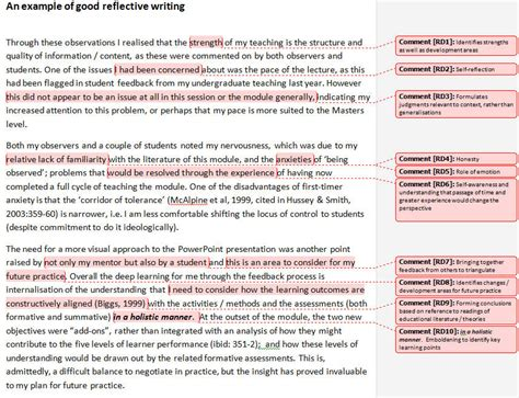 reflective writing sle essay writing reflectively supporting reflection