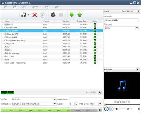 mp3 converter burner free download xilisoft mp3 cd burner burn audios wma wav aac flac