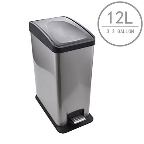 Kes Stainless Steel Rectangular Step Trash Can With