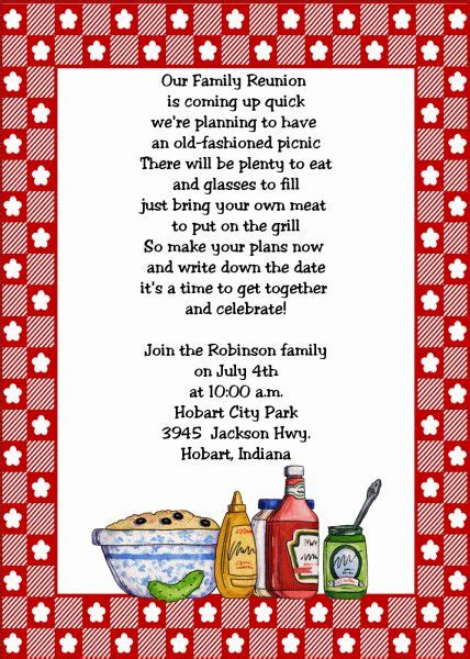 Invitation Letter Format For Picnic 25 Best Ideas About Family Reunion Invitations On Reunions Family Reunion Crafts