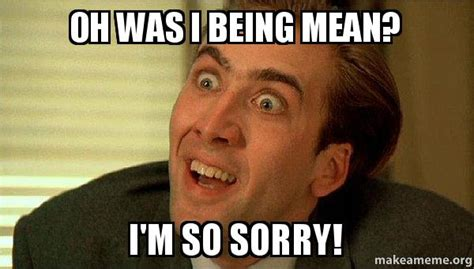 Memes About Being Sorry - oh was i being mean i m so sorry sarcastic nicholas