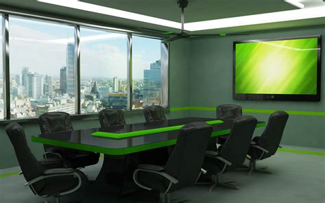 room and board desk meeting room with black glass and green phospor conference