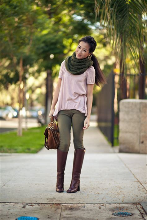 fall colors olive scarf brown boots wendy s