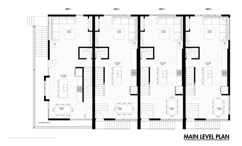 row house plans town home plans six units tandem garage